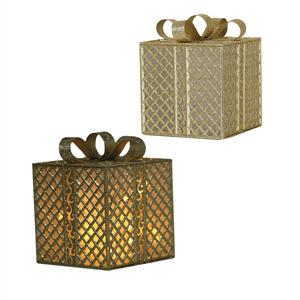 Caixa Presente Dourada com Iluminação Led, 20 x 25 Cm