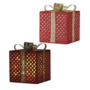 Caixa Presente Vermelha com Iluminação Led, 20 x 25 Cm