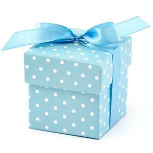 Caixas Brinde Azul às Bolinhas com Laço, 10 unid.