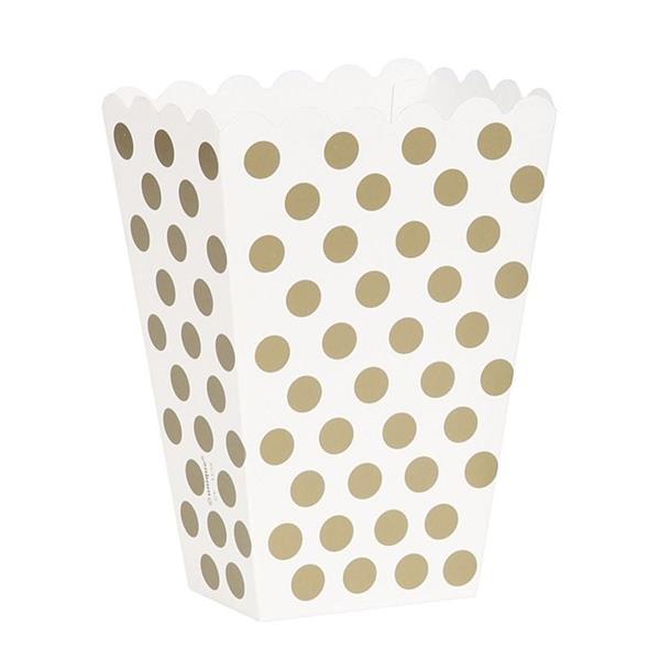 Caixas Pipocas Dourado Bolinhas, 8 Unid.