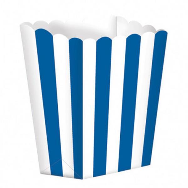 Caixas Pipocas Riscas Azul, 5 unid.