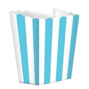 Caixas Pipocas Riscas Azul Claro, 5 unid.