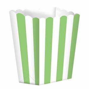 Caixas Pipocas Riscas Verde, 5 unid.