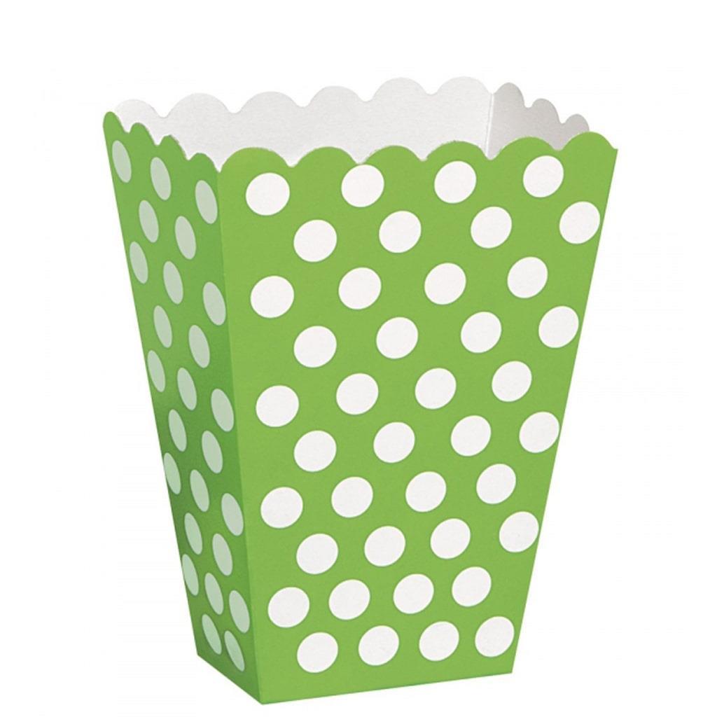 Caixas Pipocas Verde Bolinhas, 8 Unid.