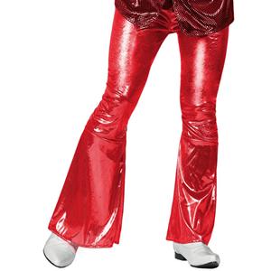 Calças Disco Vermelhas Brilhantes, Adulto
