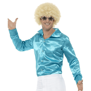 Camisa Azul Acetinada Anos 60, Adulto