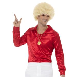 Camisa Vermelha Acetinada Anos 60, Adulto