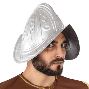 Capacete Cinzento Cavaleiro Medieval