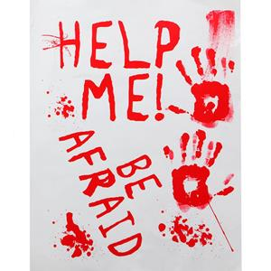 Cartaz Sangrento Help Me, 42 x 19 cm