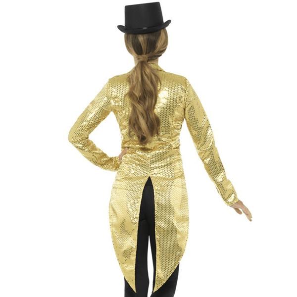 Casaco Dourado Comprido com Lantejoulas
