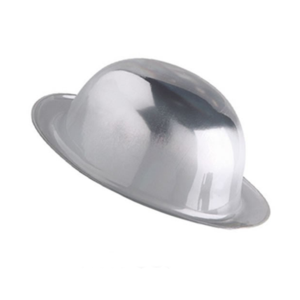 Chapéu Coco Prateado Metalizado
