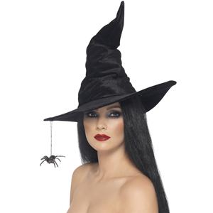 Chapéu de Bruxa Preto com Aranha