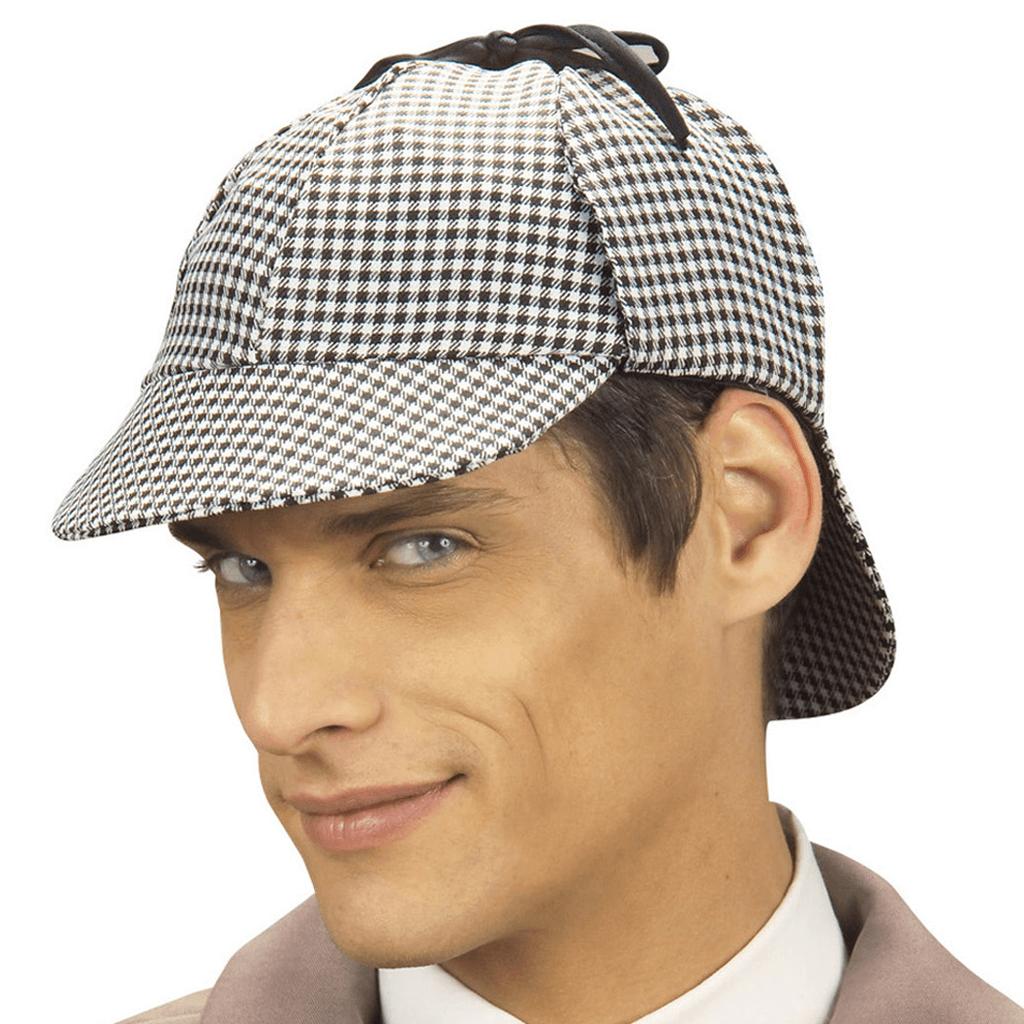 Chapéu de Detective Xadrez Preto e Branco, Adulto
