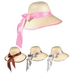 Chapéu de Palha com Fita em Tecido Acetinado