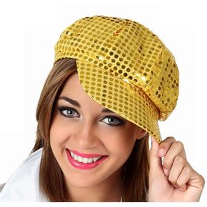 Chapéu Disco Dourado com Lantejoulas