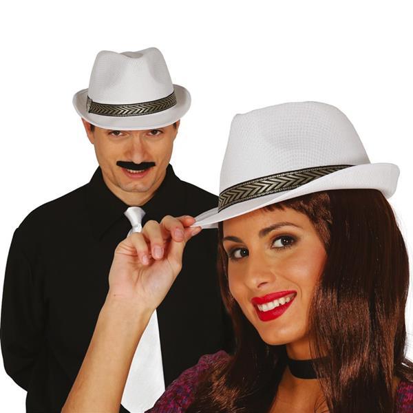 Chapéu Gangster Branco com Fita