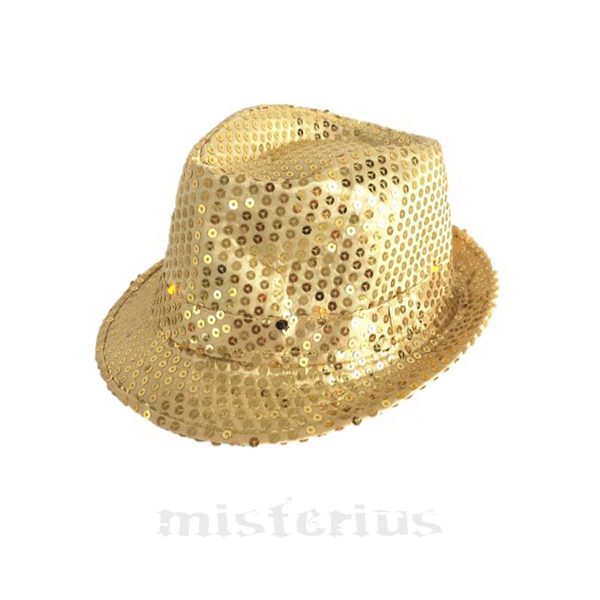 Chapéu Gângster Leds Dourado