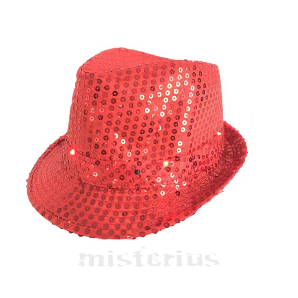Chapéu Gângster Leds Vermelho