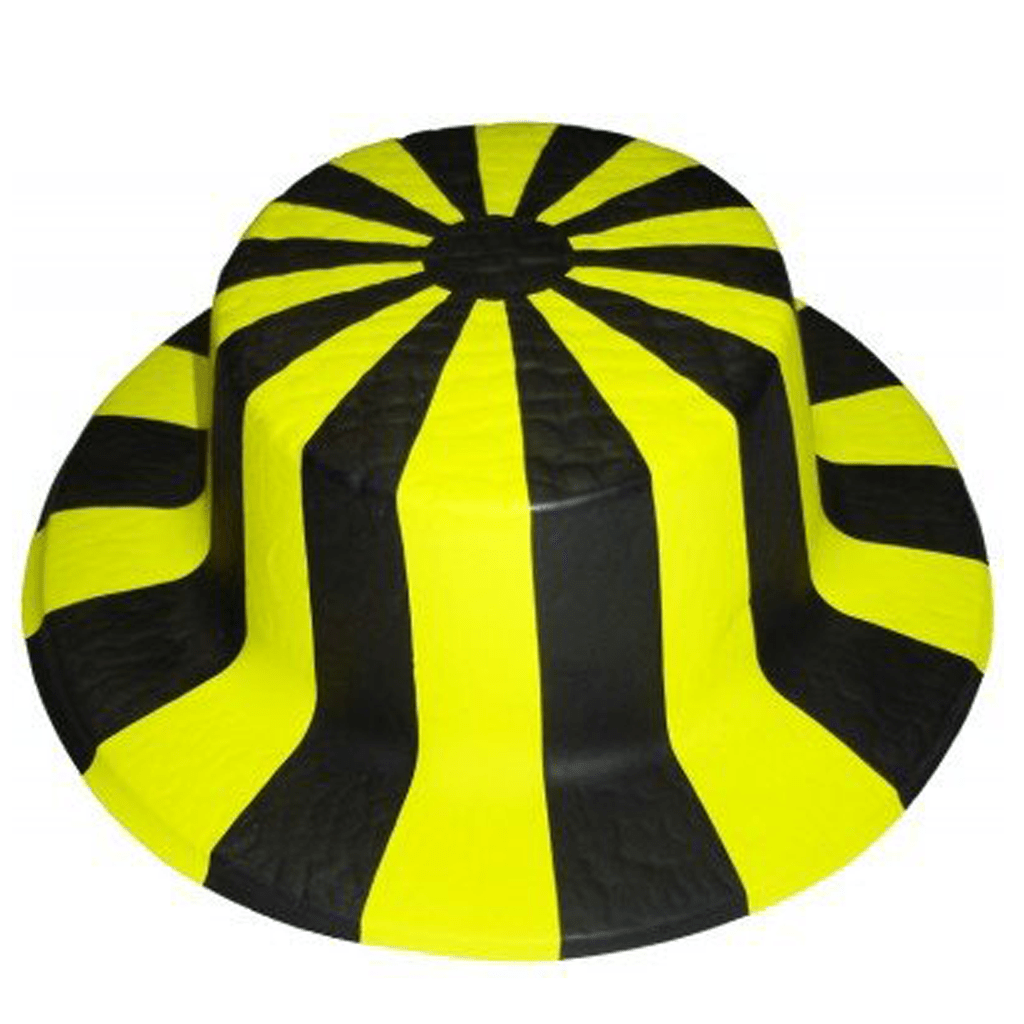 Chapéu Riscas Amarelas e Pretas em Plástico