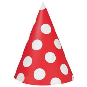 Chapéus Vermelhos Bolinhas, 8 unid.