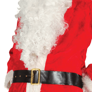 Cinto Pai Natal Preto em Napa com Fivela Dourada