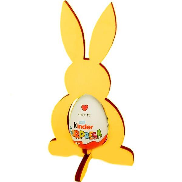 Coelho Decorativo Amarelo para colocar Ovo em Madeira, 20 cm