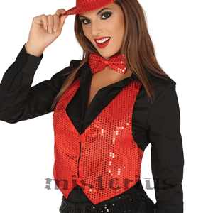Colete Lantejoulas Vermelho, Mulher