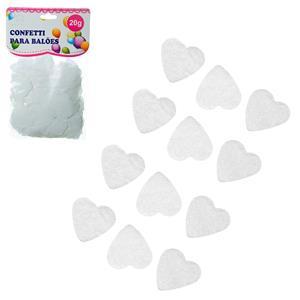 Confetis Corações Brancos para Balões, 20 gr.