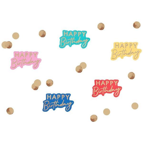 Confetis Happy Birthday Multicolor, 13 gr.