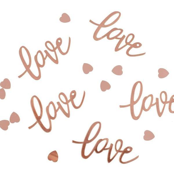 Confetis Love e Corações Rosa Gold, 13 gr