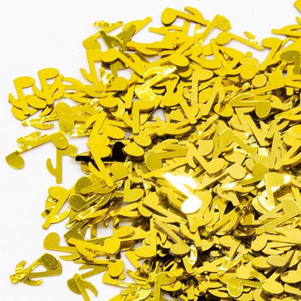 Confetis Notas Musicais Dourado, 20 gr.