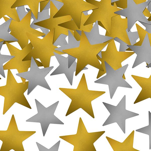 Confetis Estrelas Douradas e Prateadas, 7gr