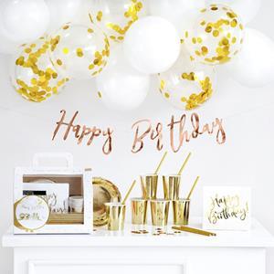 Conjunto de Decorações Happy Birthday Dourado