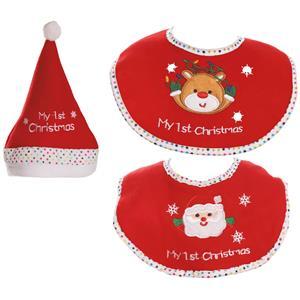Conjunto Gorro e Babete de Natal para Bebé