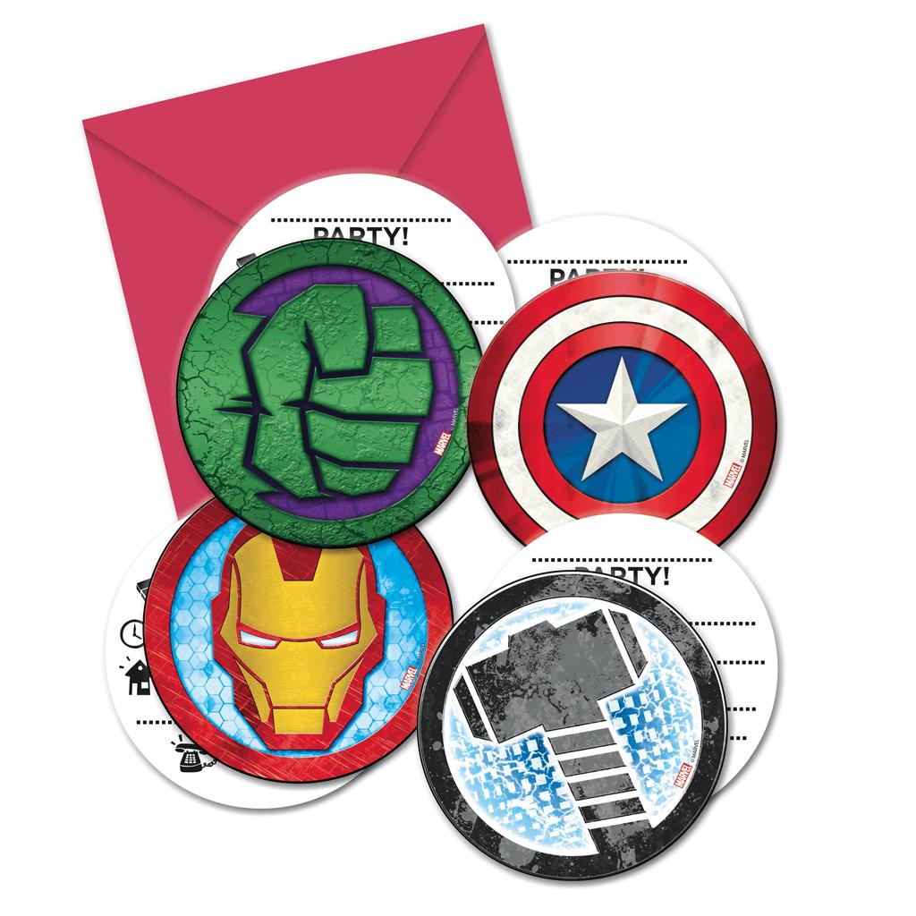 Convites Avengers, 6 Unid.