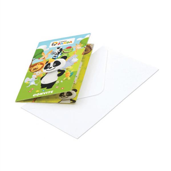 Convites Panda com Envelope, 8 unid.