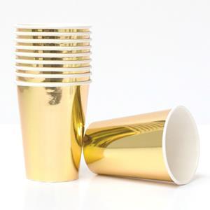 Copo Dourado Metalizado, 8 Unid.