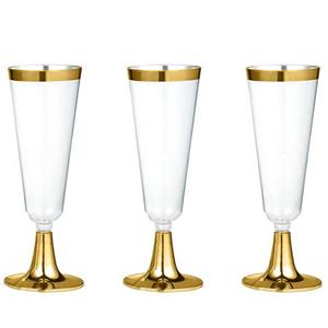 Copo Flute Dourado em Plástico, 3 Unid.