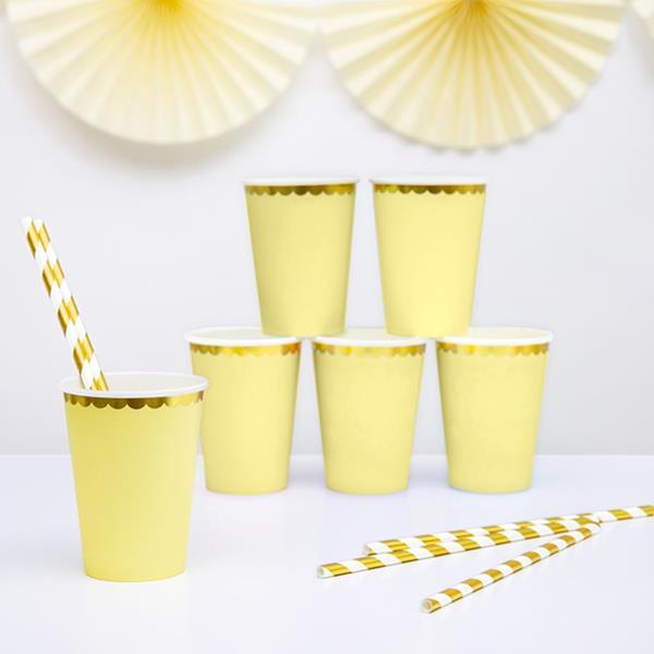 Copos Amarelos com Rebordo Dourado, 6 unid.