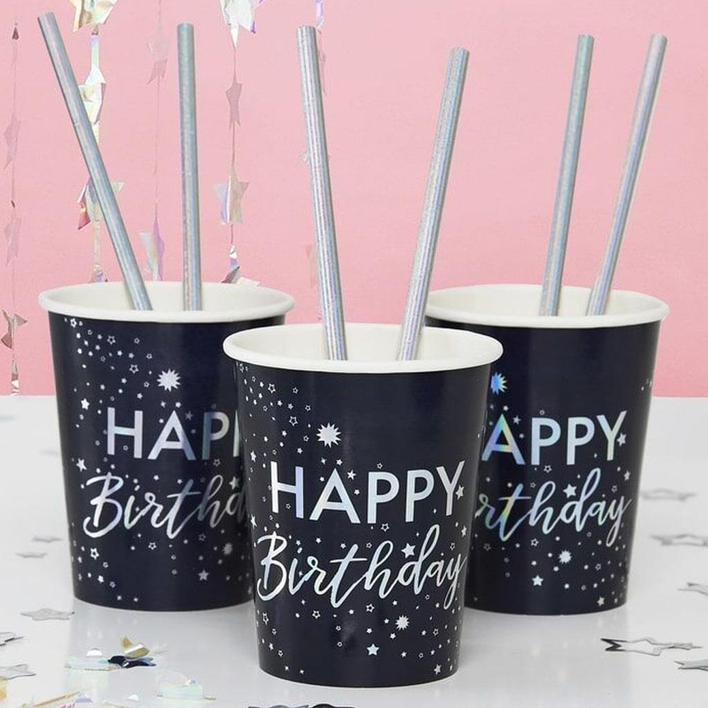 Copos Azul Happy Birthday, 8 unid.