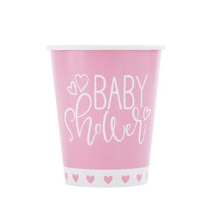 Copos Baby Shower Rosa, 8 unid.