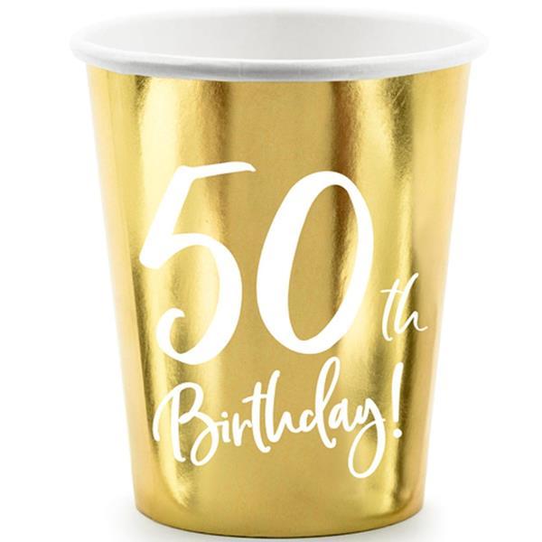Copos Dourados 50 Anos, 6 unid.