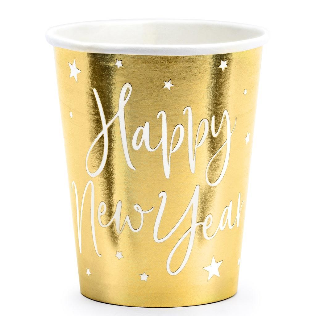 Copos Dourados Happy New Year, 6 unid.