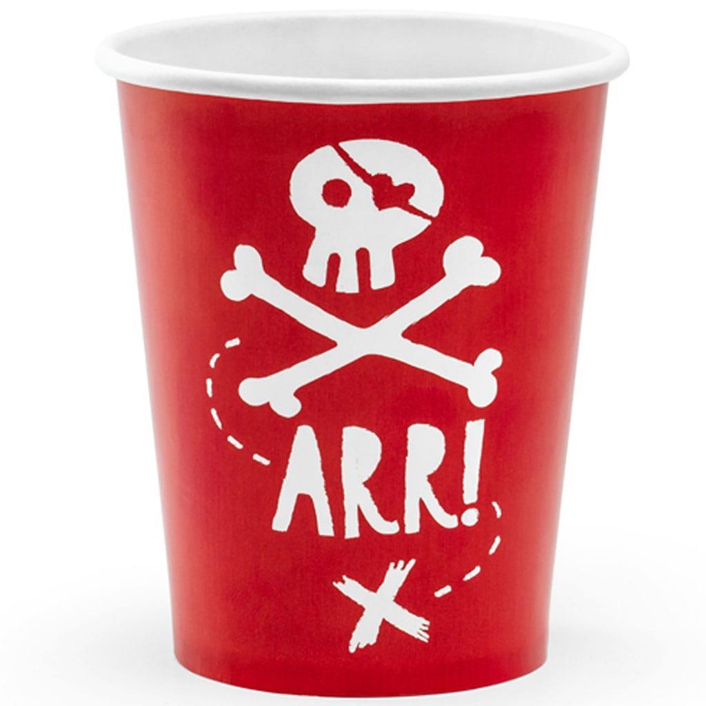 Copos Piratas Party Vermelhos, 6 unid.