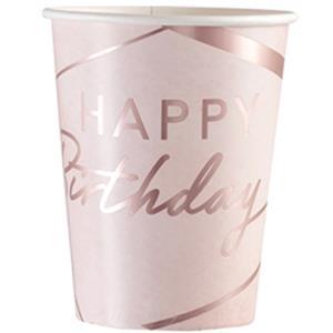 Copos Rosa Happy Birthday, 8 unid.