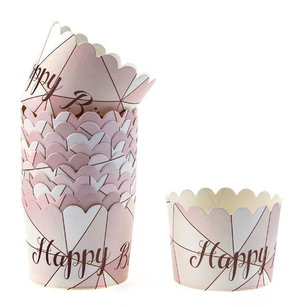 Copos Sobremesa Happy Birthday Rosa, 12 unid.