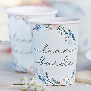 Copos Team Bride Floral, 8 unid.