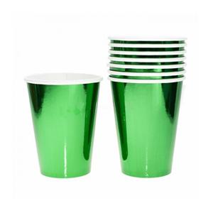 Copos Verdes Metalizados, 8 Unid.