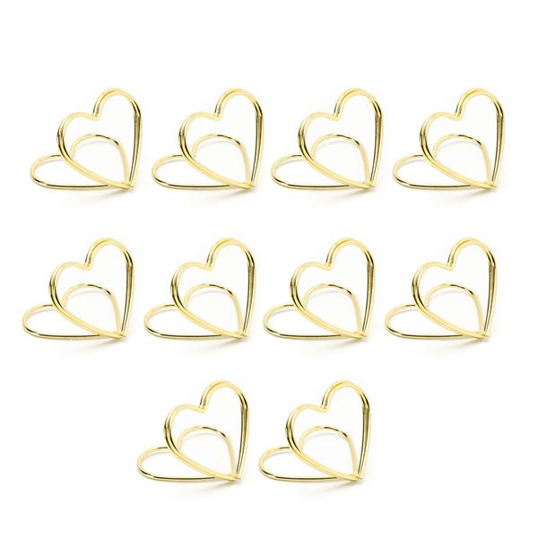 Coração Dourado Marcador de Lugar, 10 Unid.
