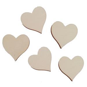 Corações em Madeira para Dedicatórias, 30 unid.